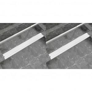 Rigolă liniară de duș 2 buc. 930x140 mm oțel inoxidabil bule