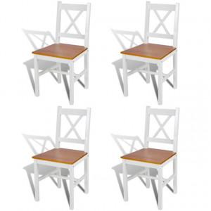 Scaune de bucătărie 4 buc., lemn, alb și natur