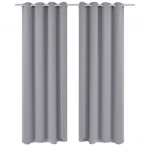 Set 2 draperii gri, opace, cu inele metalice, 135 x 245 cm