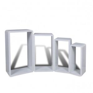 Set 4 rafturi cubice, Alb