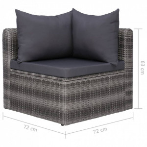 Set canapea de grădină cu perne, 4 piese, gri, poliratan