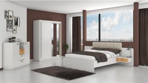 Set Dormitor Effect, Alb, Dulap 150 cm, Pat 160x200 cm, 2 noptiere, comoda