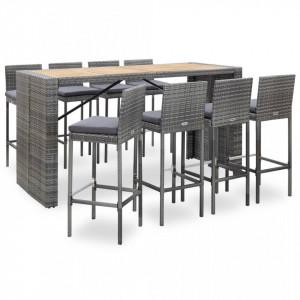 Set mobilier bar exterior 9 piese gri poliratan și lemn acacia