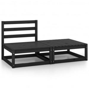 Set mobilier de grădină, 2 piese, negru, lemn masiv de pin