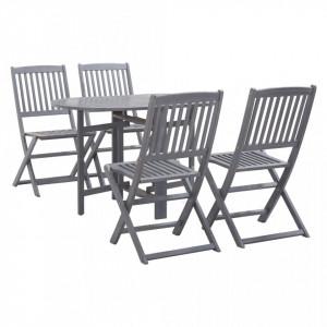 Set mobilier de grădină, 5 piese, gri, lemn masiv de acacia