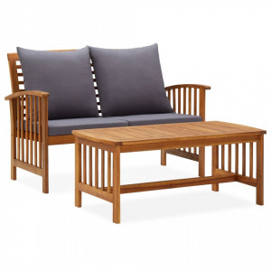 Set mobilier de grădină cu perne, 2 piese, lemn masiv de acacia