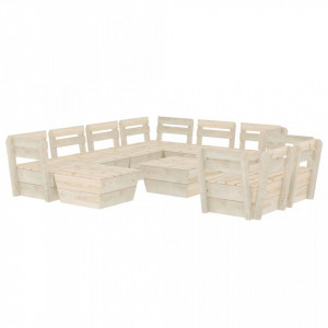 Set mobilier grădină din paleți, 10 piese, lemn molid tratat