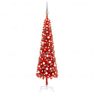 Set pom de Crăciun subțire cu LED-uri și globuri, roșu, 180 cm