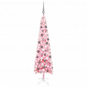 Set pom de Crăciun subțire cu LED-uri și globuri, roz, 150 cm