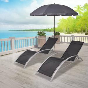 Șezlonguri de plajă cu umbrelă, negru, aluminiu