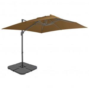 Umbrelă de exterior cu bază portabilă, gri taupe