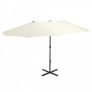 Umbrelă soare exterior, stâlp aluminiu, nisipiu, 460 x 270 cm