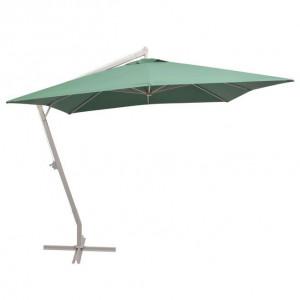 Umbrelă suspendată, stâlp de aluminiu, 300x300 cm, verde