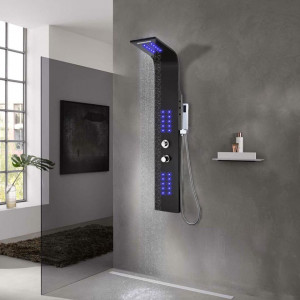 Unitate panou de duș, aluminiu, 20 x 44 x 130 cm, negru