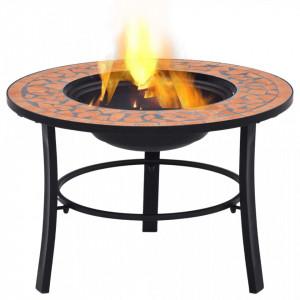 Vatră de foc cu mozaic, cărămiziu, 68 cm, ceramică