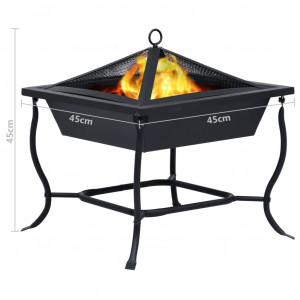 Vatră de foc, negru, 45 x 45 x 45 cm, oțel