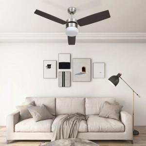 Ventilator tavan cu iluminare și telecomandă, maro închis,108cm
