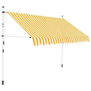 Copertină retractabilă manual, 250 cm, dungi galben și alb