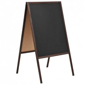 Tablă neagră cu două fețe, lemn cedru, verticală, 60 x 80 cm