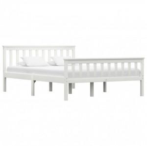 Cadru de pat, alb, 140 x 200 cm, lemn de pin masiv