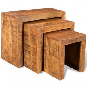 Set de mese suprapuse, 3 piese, lemn masiv de mango