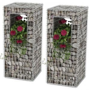 Stâlpi coș gabion/jardiniere din oțel, 2 buc., 50 x 50 x 120 cm
