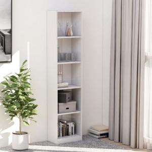 Bibliotecă cu 5 rafturi, alb lucios, 40 x 24 x 175 cm, PAL