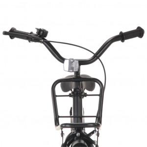 Bicicletă copii cu suport frontal, negru și portocaliu, 20 inci