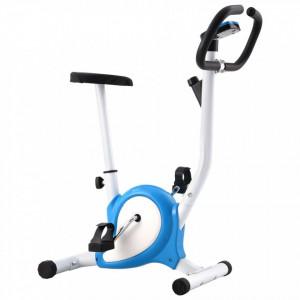 Bicicletă fitness cu curea de rezistență, albastru