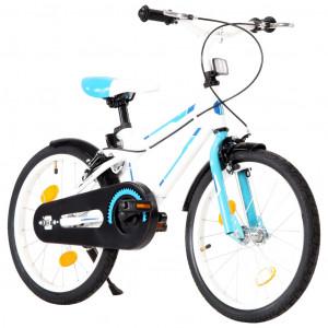 Bicicletă pentru copii, albastru și alb, 18 inci
