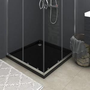 Cădiță de duș pătrată, negru, 80x80 cm, ABS