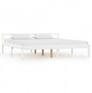 Cadru de pat, alb, 160 x 200 cm, lemn masiv de pin