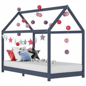 Cadru de pat pentru copii, gri, 80 x 160 cm, lemn masiv de pin
