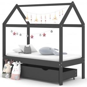 Cadru pat copii cu sertar gri închis 70x140 cm lemn masiv pin