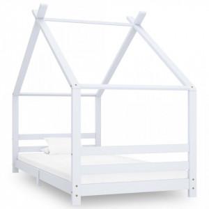 Cadru pat de copii, alb, 90 x 200 cm, lemn masiv de pin