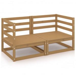 Canapea de grădină cu 2 locuri, maro miere, lemn masiv de pin