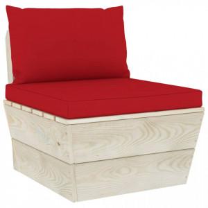 Canapea de mijloc paleți de grădină cu perne, lemn molid tratat