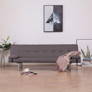 Canapea extensibilă cu două perne, gri taupe, poliester