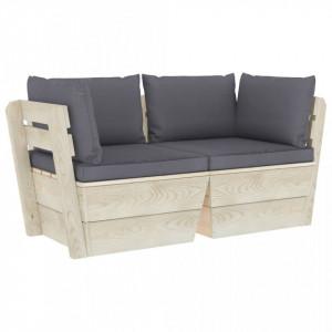 Canapea grădină din paleți, 2 locuri, cu perne, lemn de molid