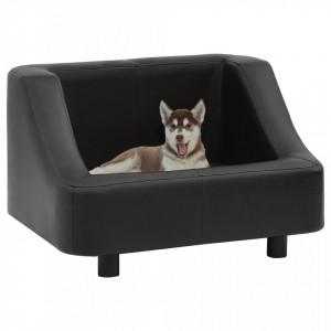 Canapea pentru câini, negru, 67 x 52 x 40 cm, piele ecologică