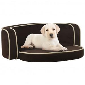 Canapea pliabilă de câini maro 73x67x26 cm pernă pluș lavabilă