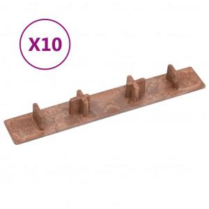 Capace de capăt pardoseală terasă, 10 buc., maro, plastic