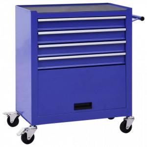 Cărucior de scule cu 4 sertare, albastru, oțel