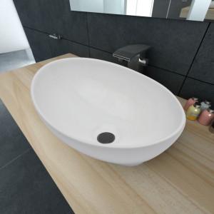 Chiuvetă ovală, alb, 40 x 33 cm, ceramică premium