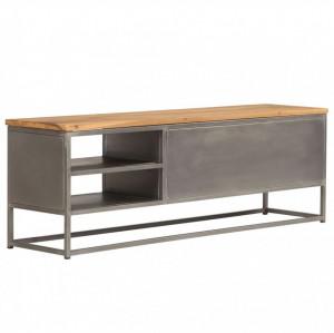 Comodă TV, lemn de tec reciclat și oțel, 120 x 30 x 40 cm