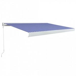 Copertină manuală tip casetă, albastru și alb, 300 x 250 cm