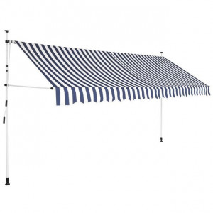 Copertină retractabilă manual, 350 cm, dungi albastru și alb