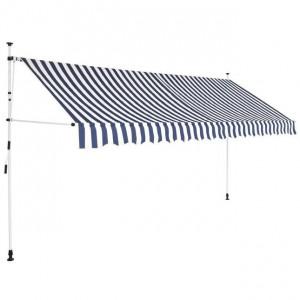 Copertină retractabilă manual, dungi albastru și alb, 350 cm