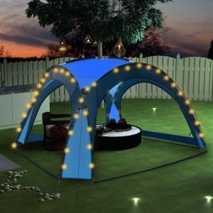 Cort petrecere cu LED și 4 pereți, albastru, 3,6 x 3,6 x 2,3 m
