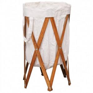 Coș de rufe pliabil, crem, lemn și material textil
